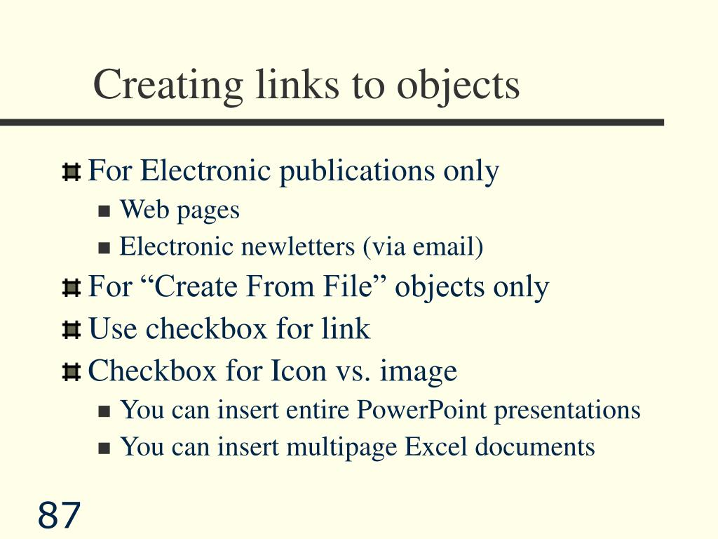 Creating links to objects