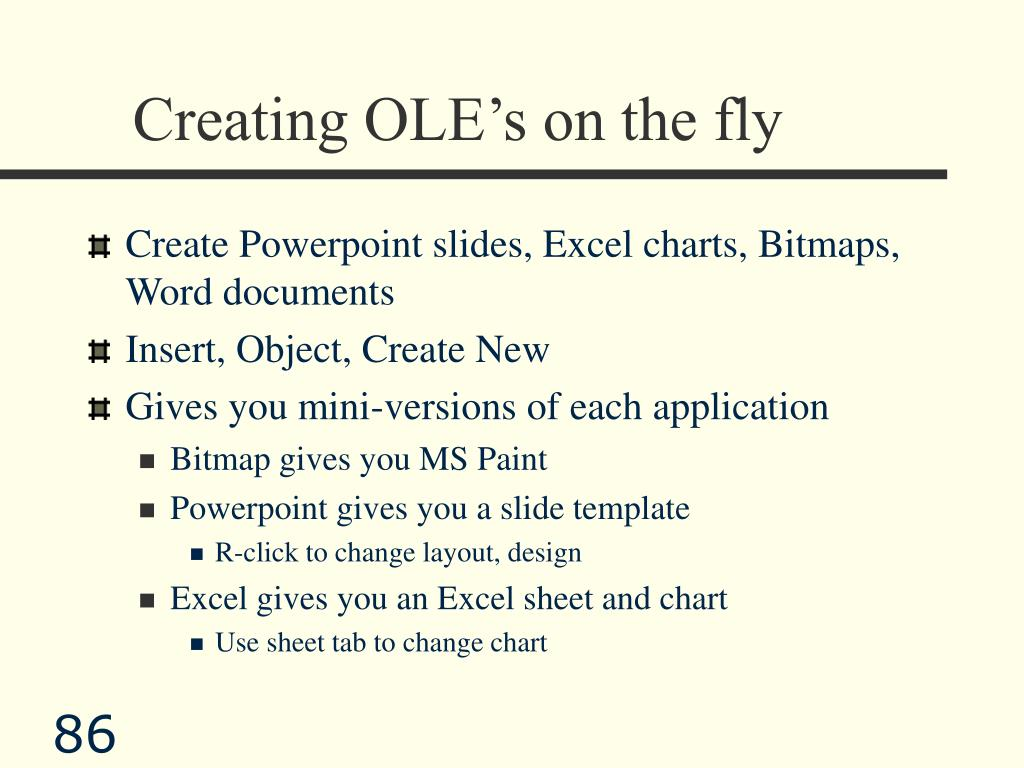 Creating OLE's on the fly