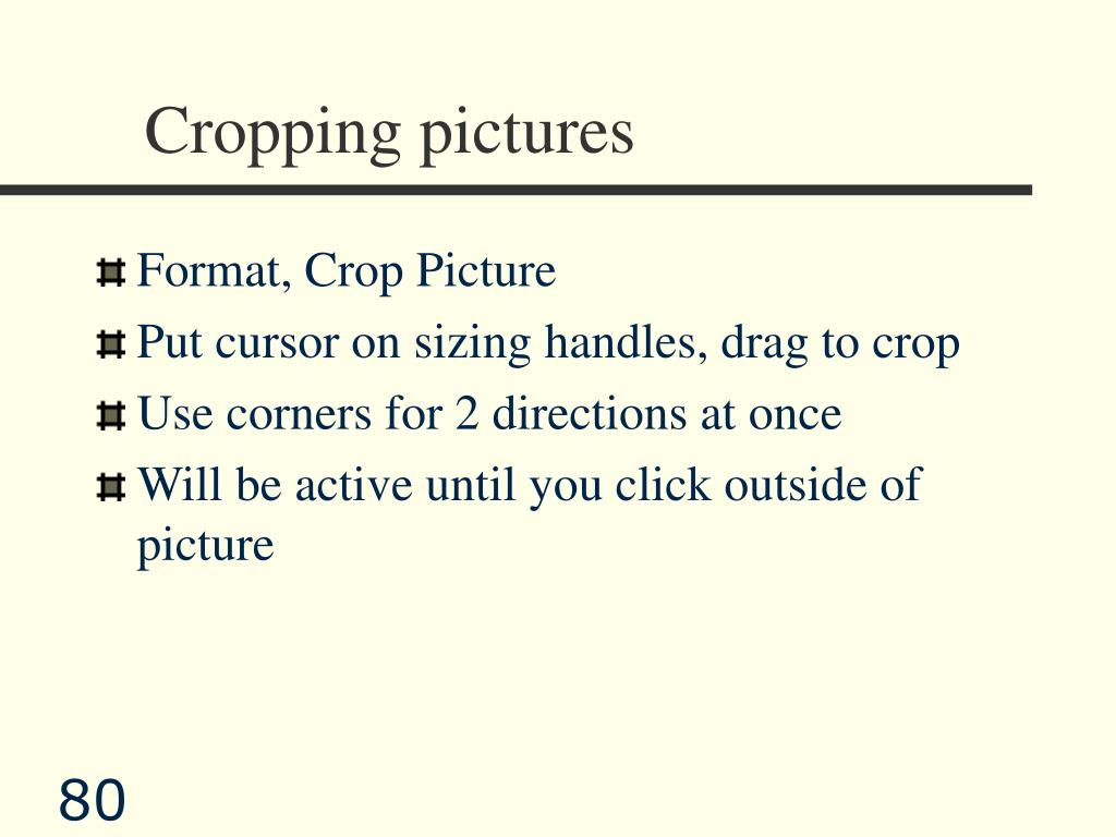 Cropping pictures
