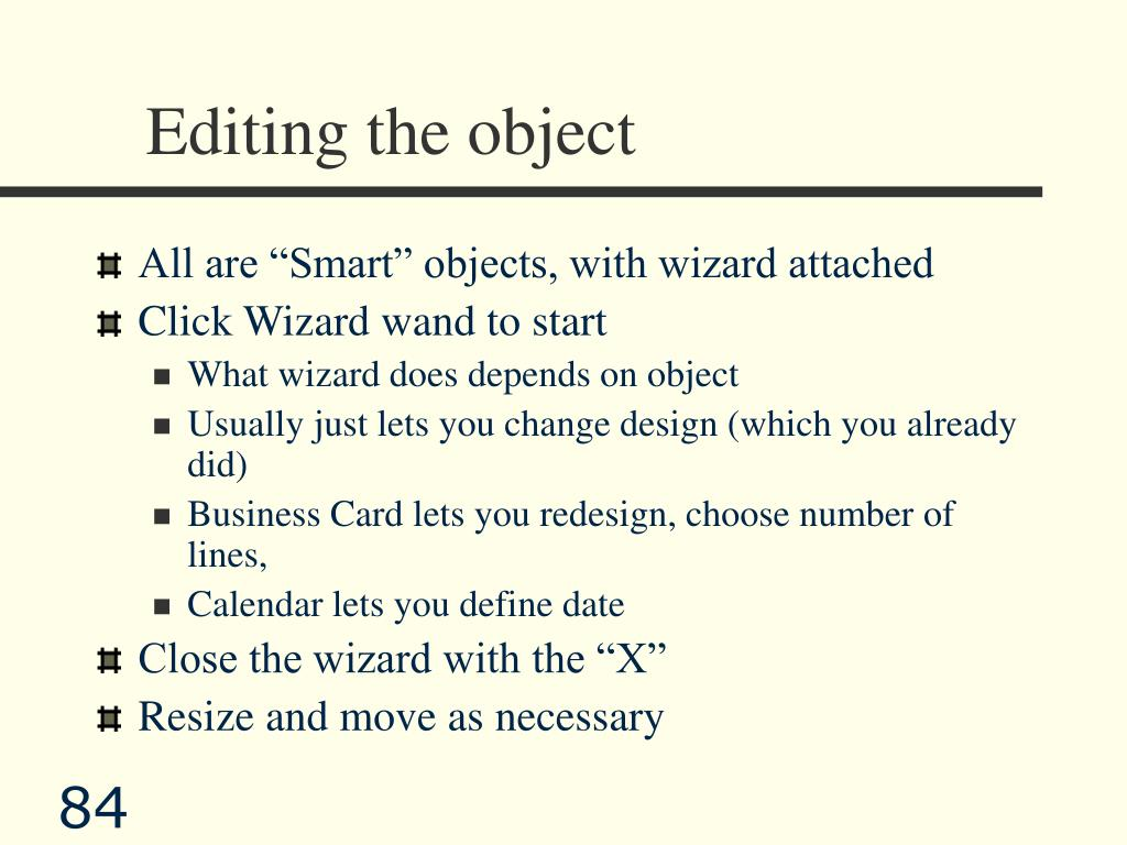 Editing the object