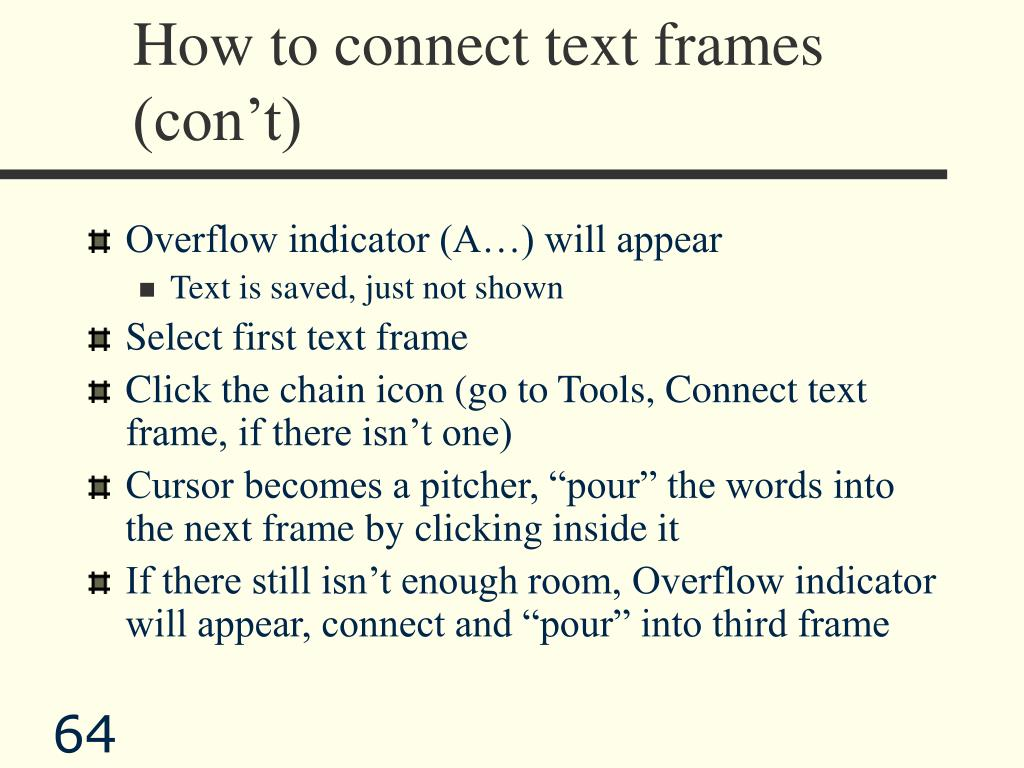 How to connect text frames (con't)