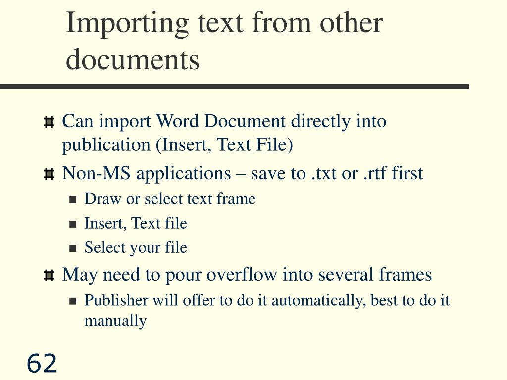 Importing text from other documents