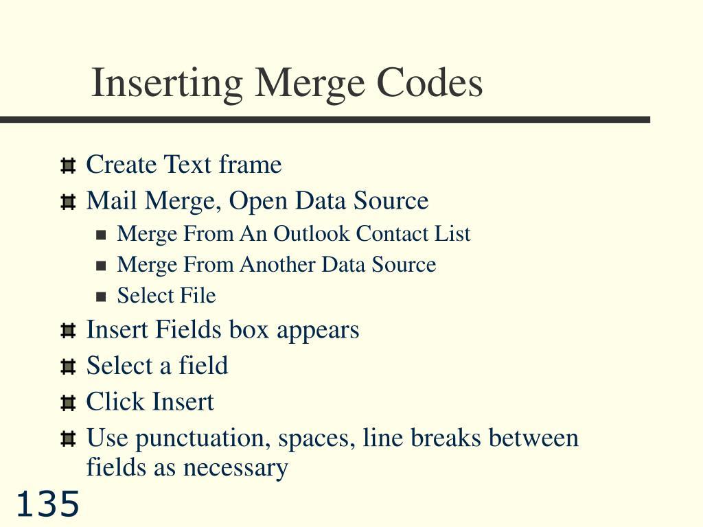 Inserting Merge Codes