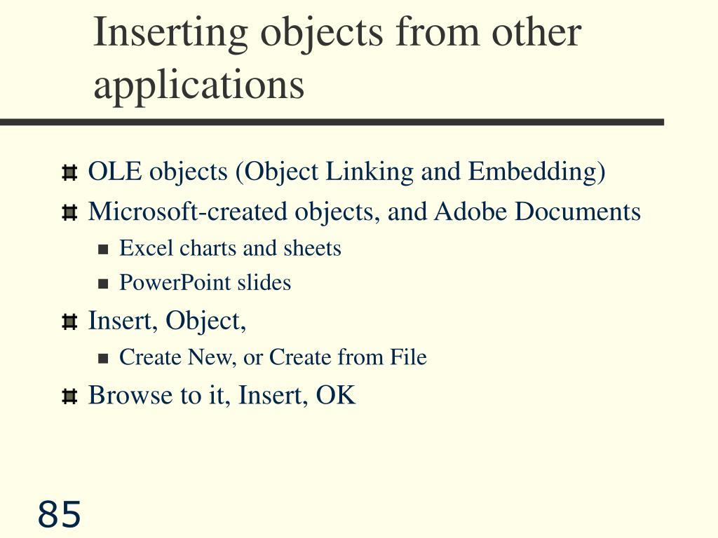 Inserting objects from other applications