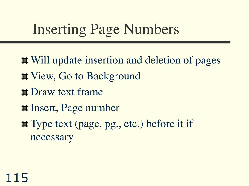 Inserting Page Numbers