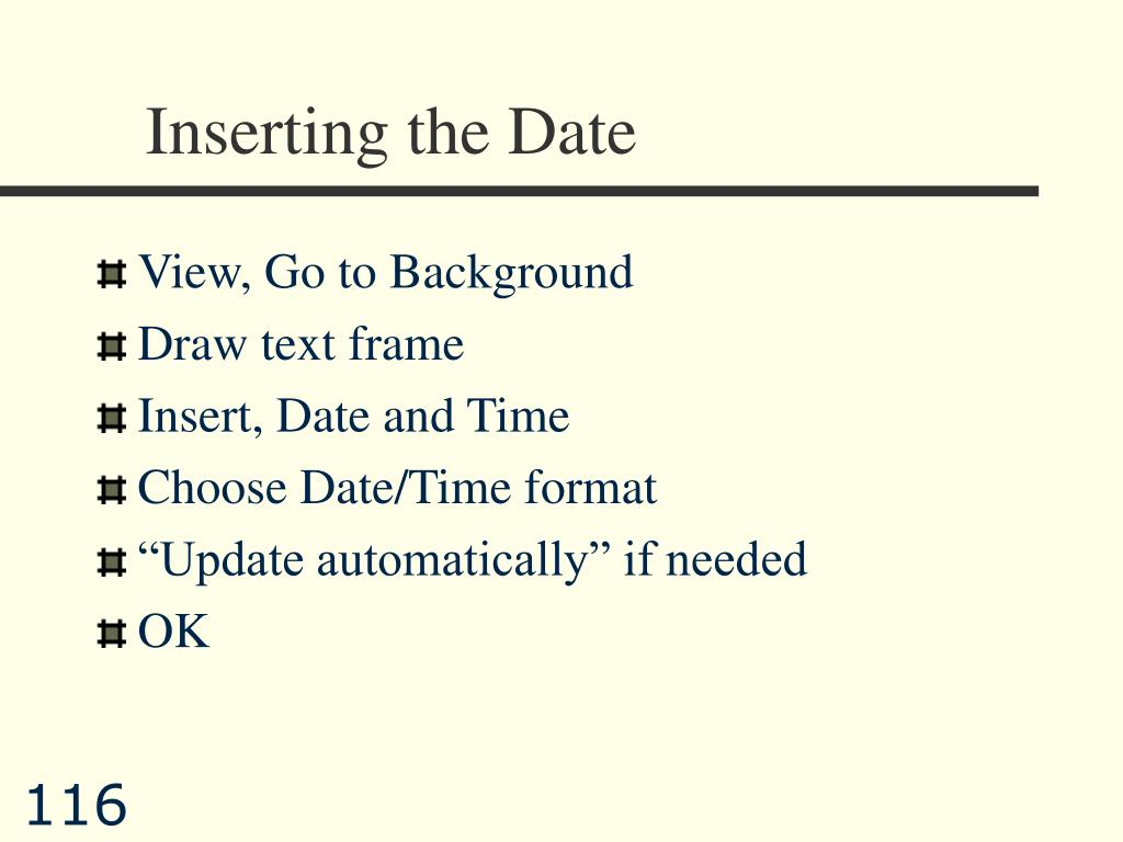 Inserting the Date