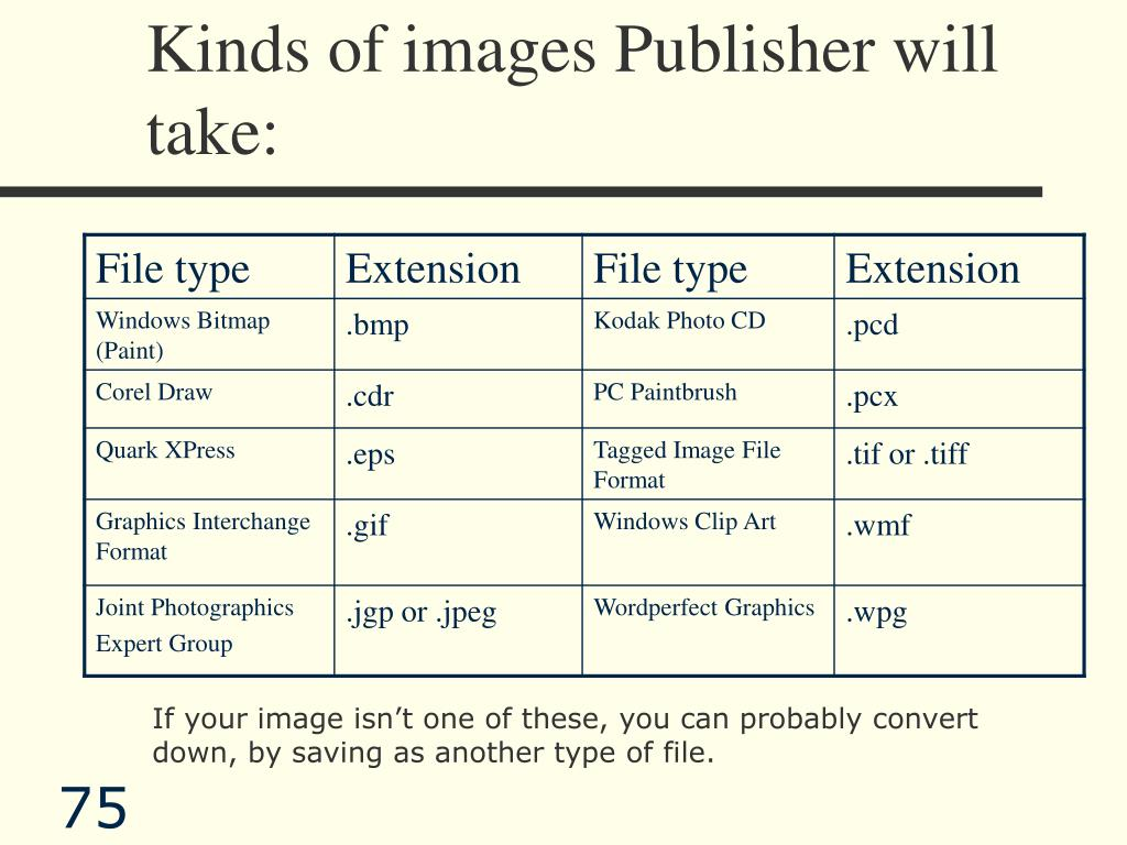 Kinds of images Publisher will take: