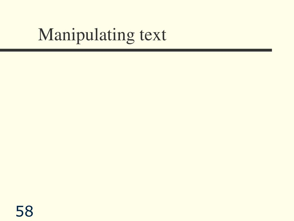 Manipulating text