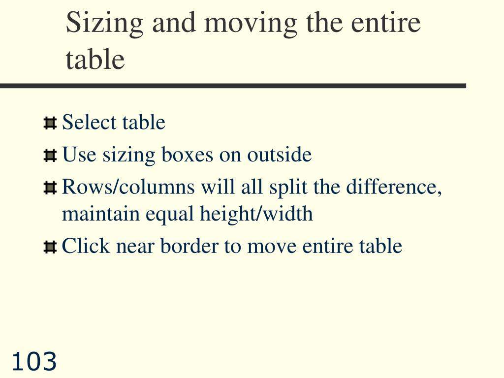 Sizing and moving the entire table