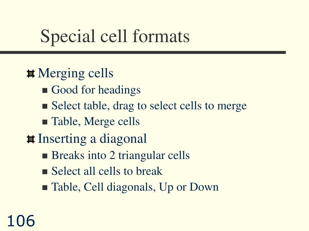 Special cell formats