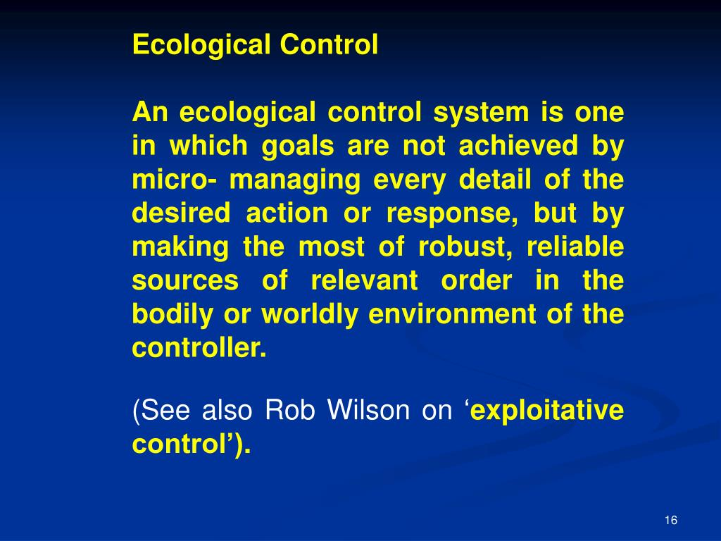 Ecological Control