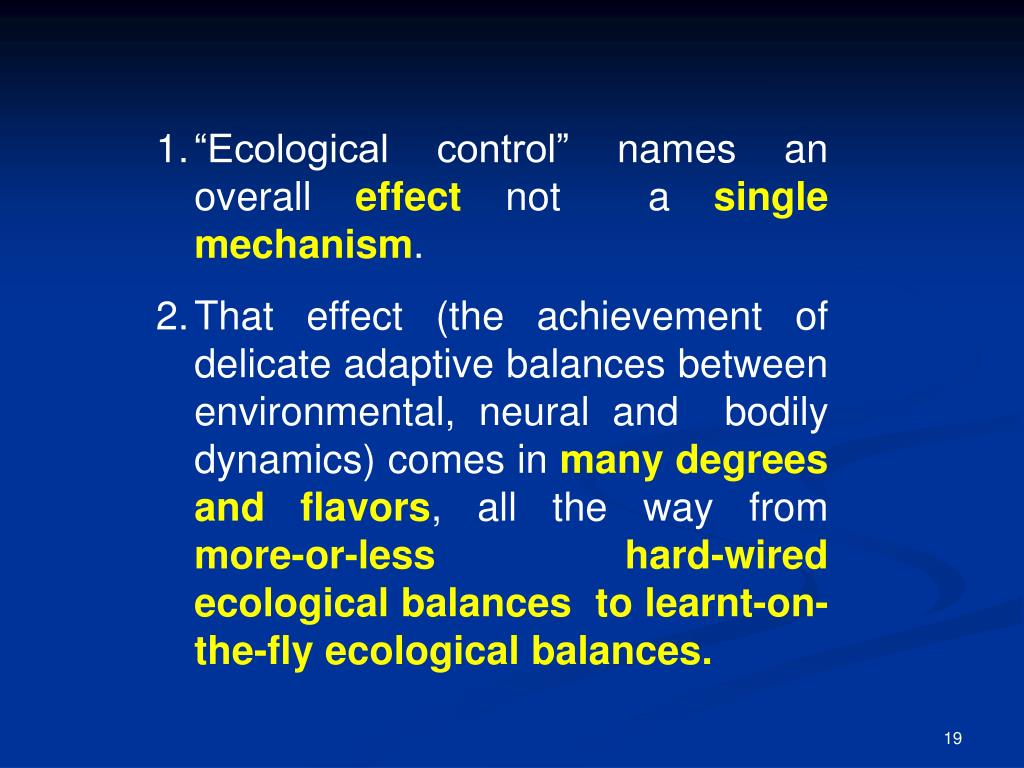 """Ecological control"" names an overall"