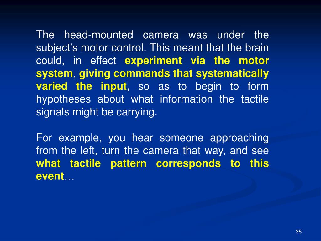 The head-mounted camera was under the subject's motor control. This meant that the brain could, in effect
