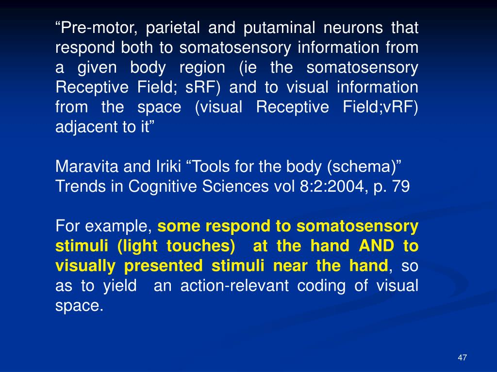 """Pre-motor, parietal and putaminal neurons that respond both to somatosensory information from a given body region (ie the somatosensory Receptive Field; sRF) and to visual information from the space (visual Receptive Field;vRF) adjacent to it"""