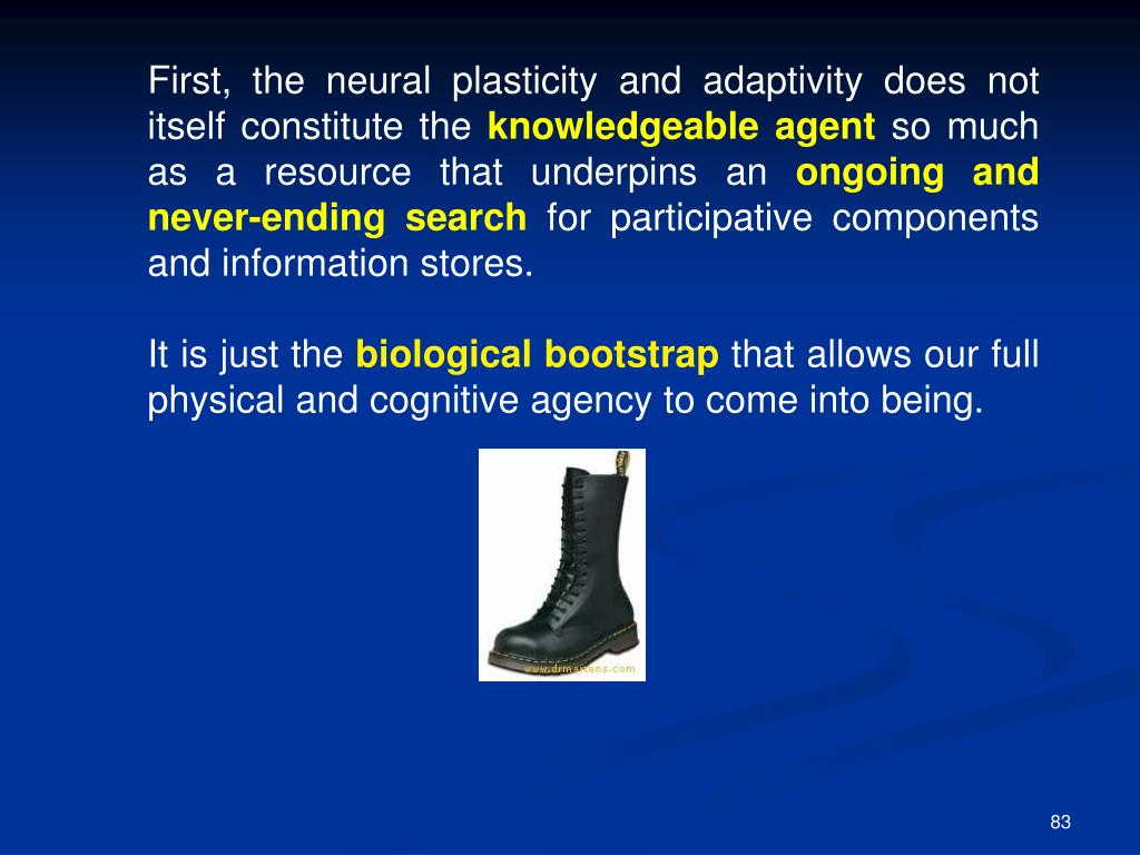First, the neural plasticity and adaptivity does not itself constitute the