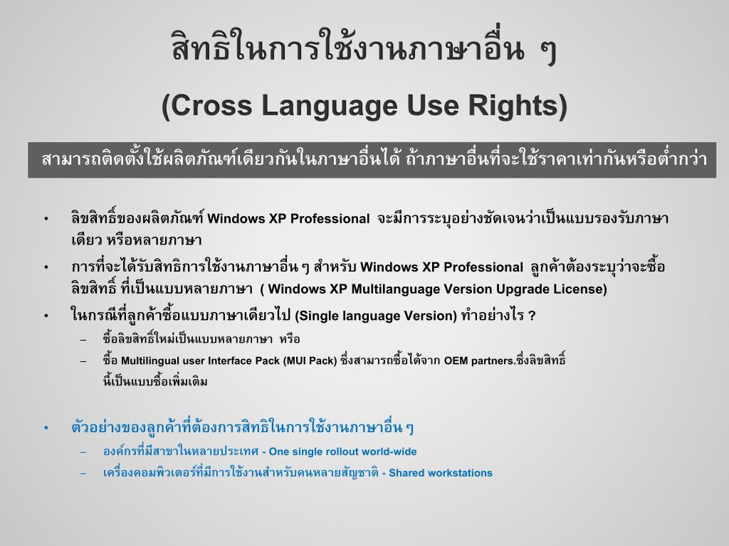 สิทธิในการใช้งานภาษาอื่น ๆ