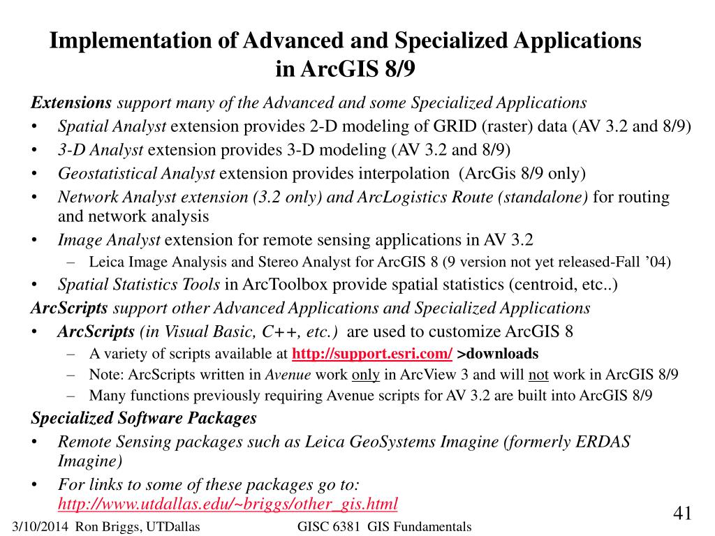 Implementation of Advanced and Specialized Applications in ArcGIS 8/9