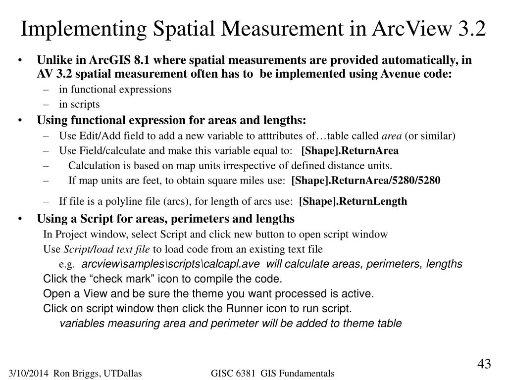 Implementing Spatial Measurement in ArcView 3.2