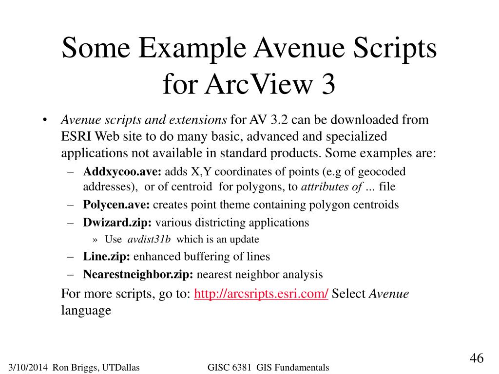 Some Example Avenue Scripts for ArcView 3