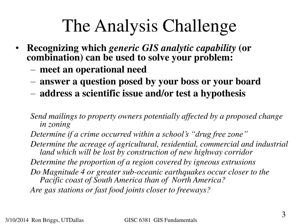 The Analysis Challenge