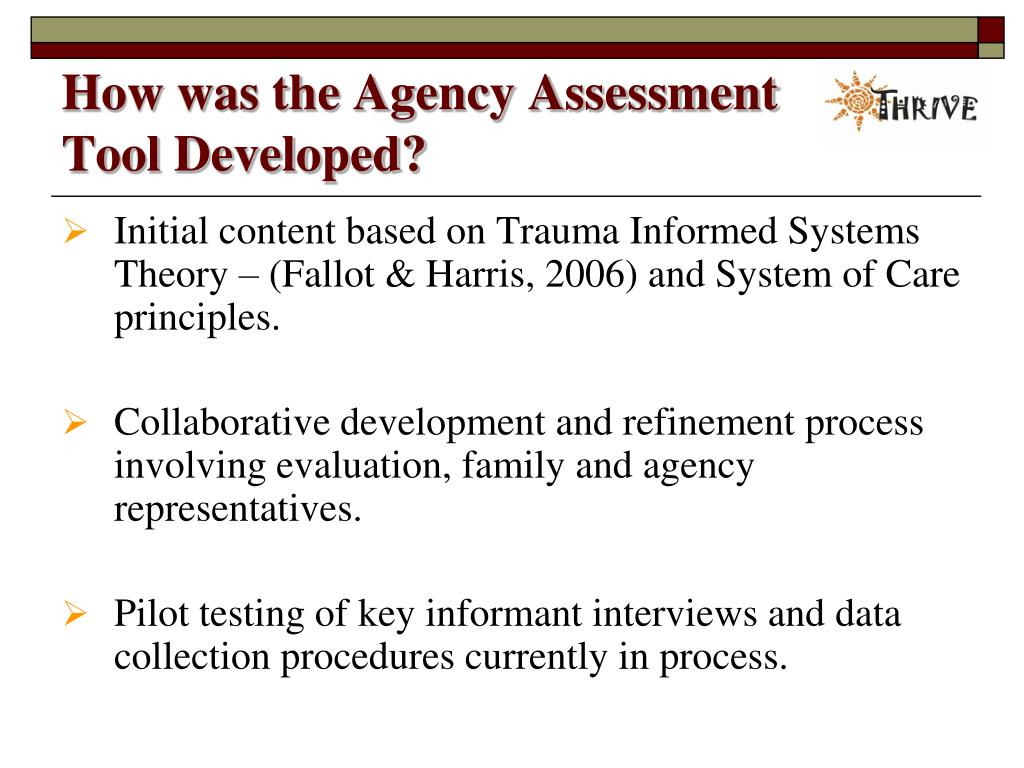 How was the Agency Assessment