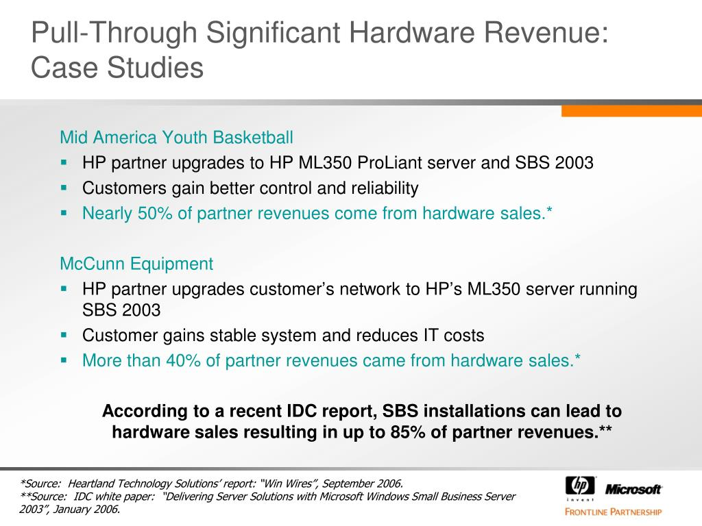 Pull-Through Significant Hardware Revenue: