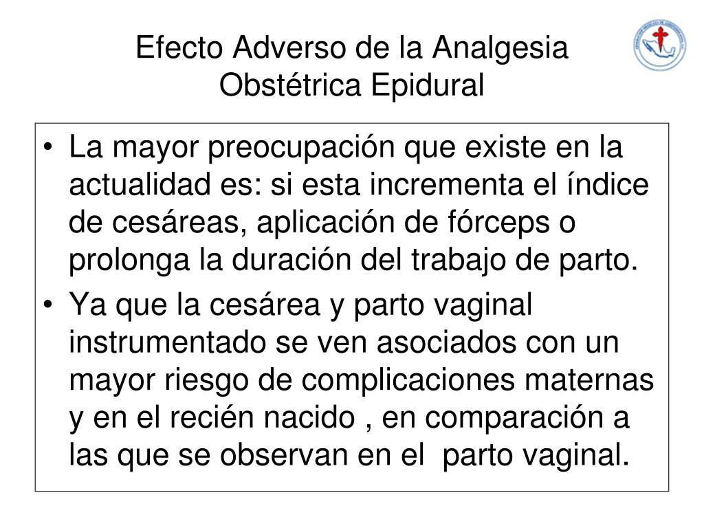 Efecto Adverso de la Analgesia