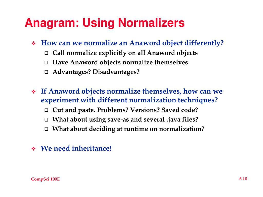 Anagram: Using Normalizers