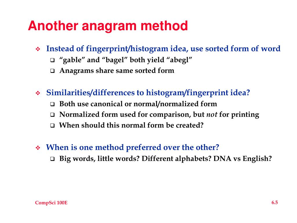 Another anagram method
