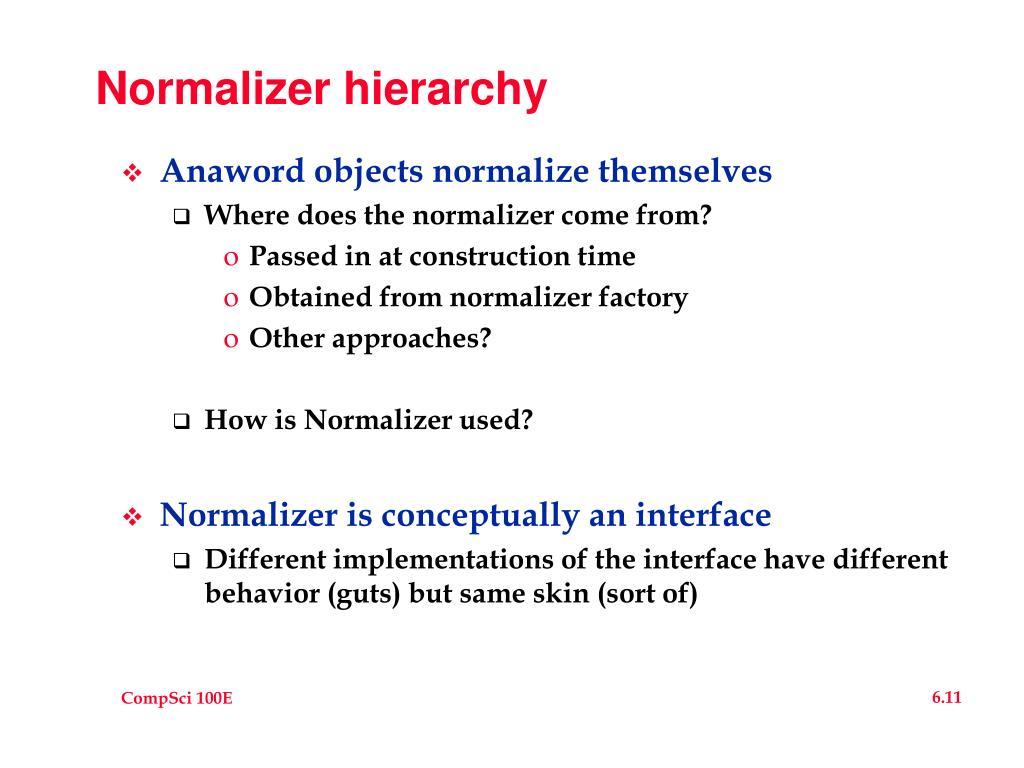 Normalizer hierarchy