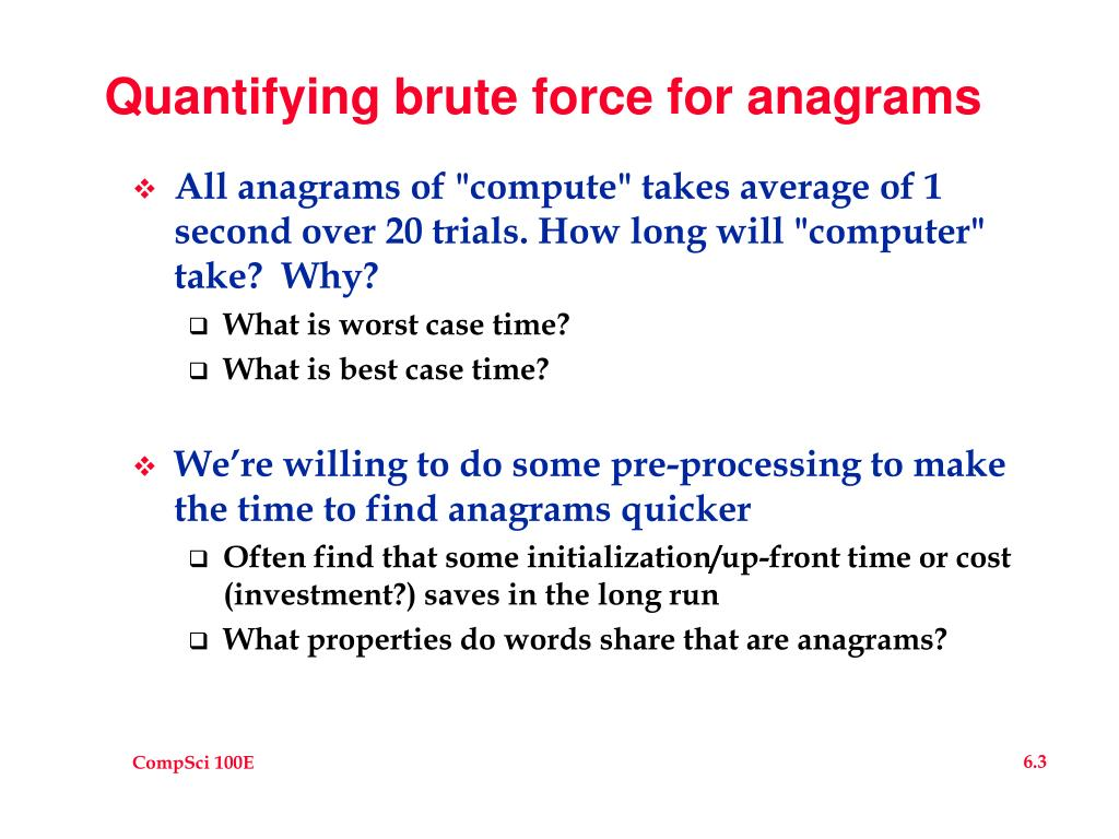 Quantifying brute force for anagrams
