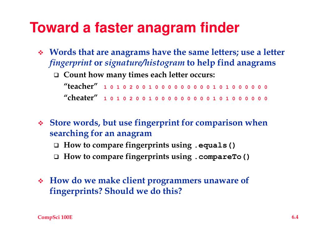 Toward a faster anagram finder