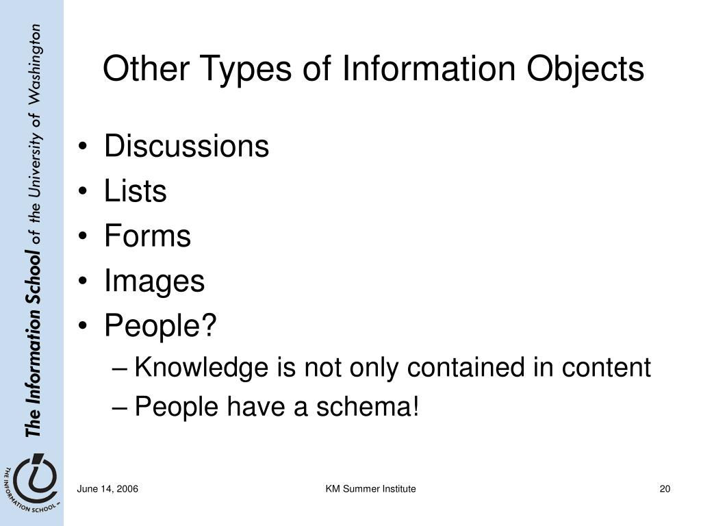 Other Types of Information Objects