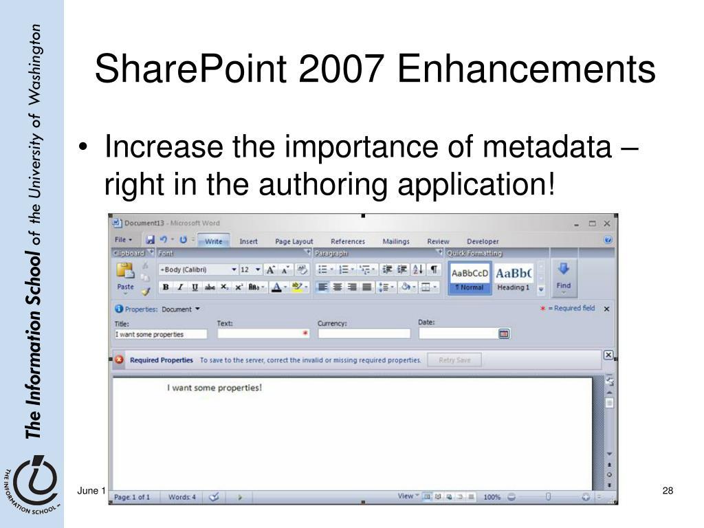 SharePoint 2007 Enhancements