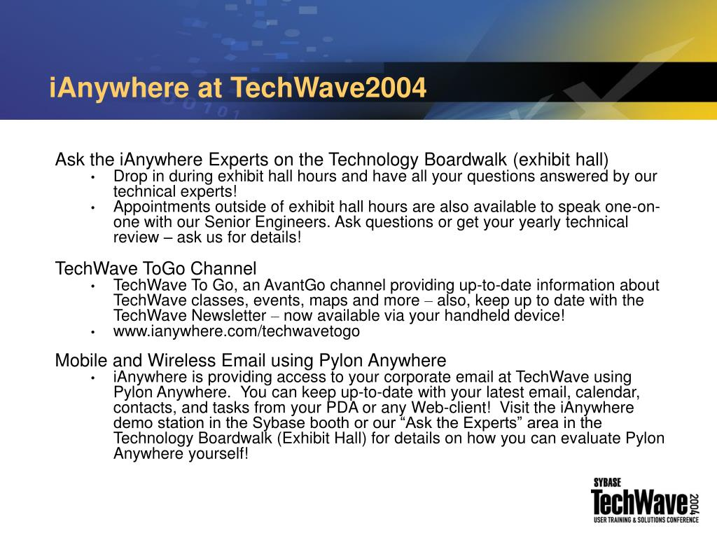 iAnywhere at TechWave2004