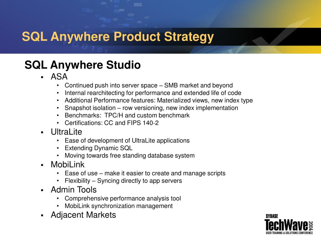 SQL Anywhere Product Strategy