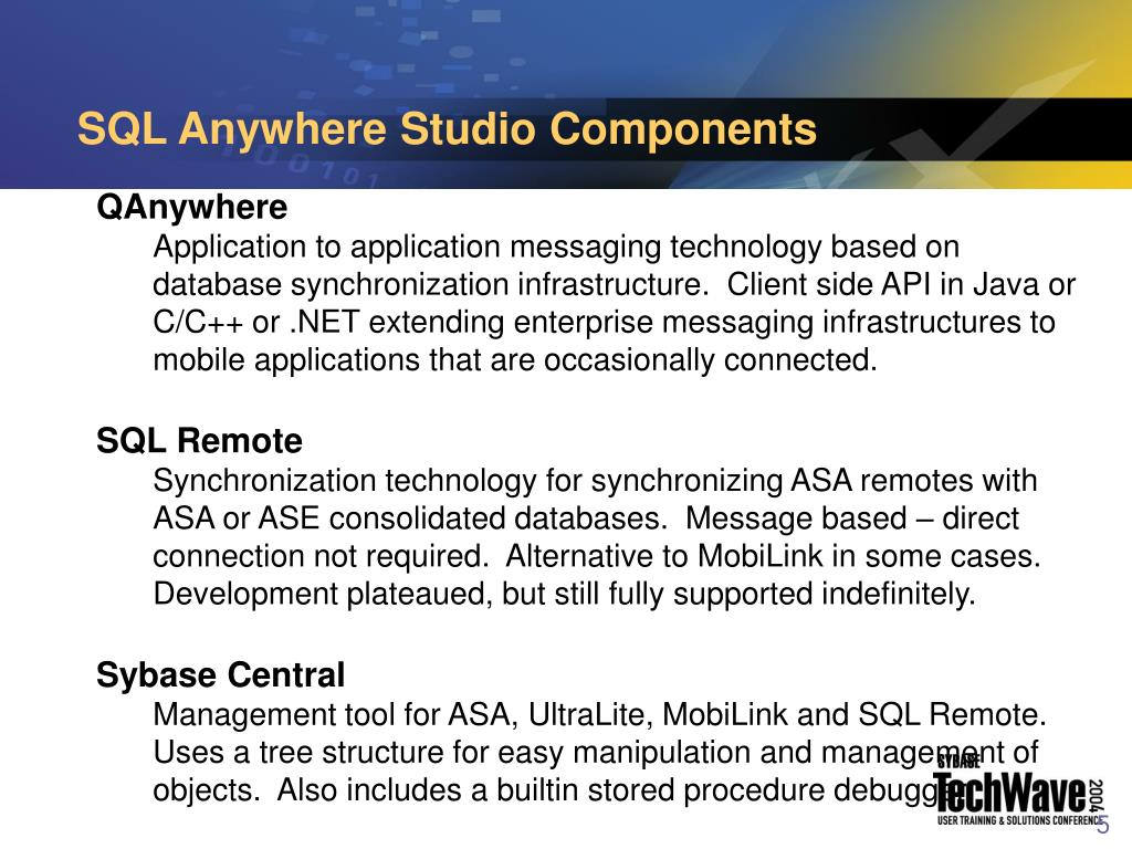SQL Anywhere Studio Components