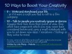 10 ways to boost your creativity16