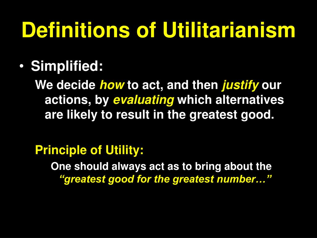 Definitions of Utilitarianism