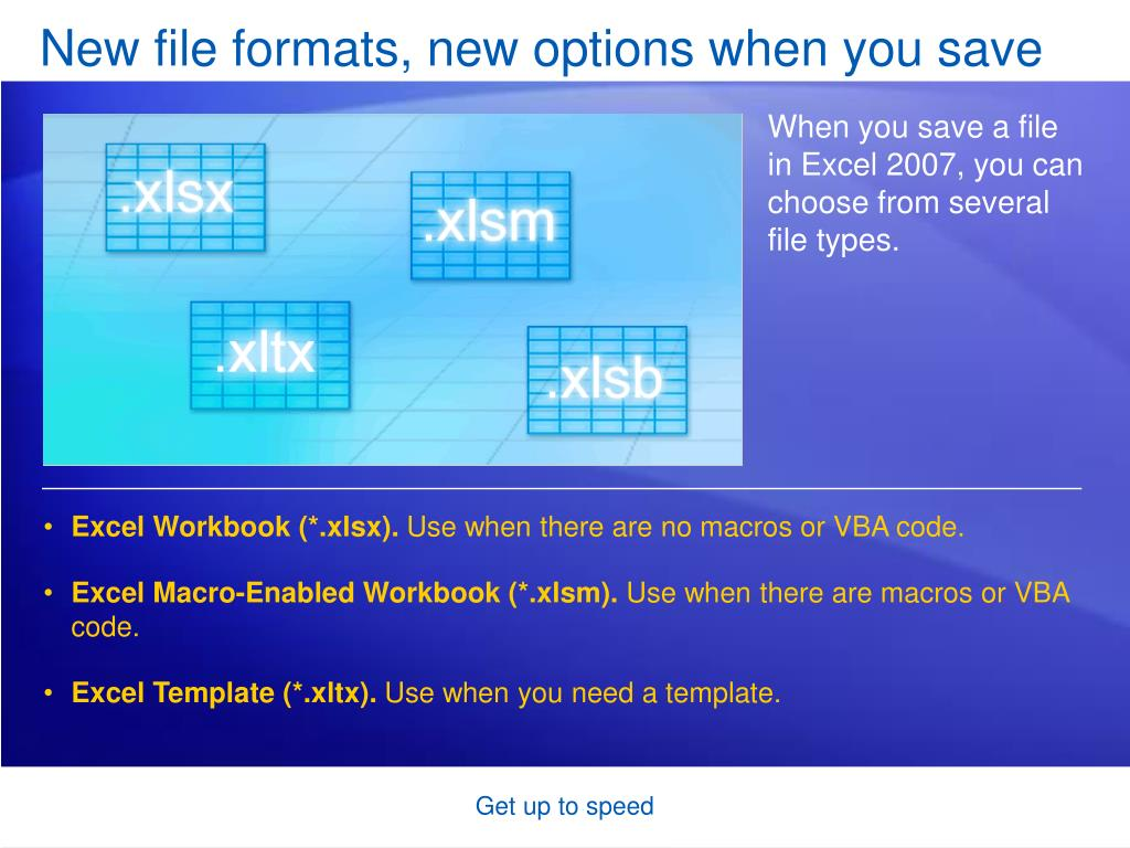 New file formats, new options when you save