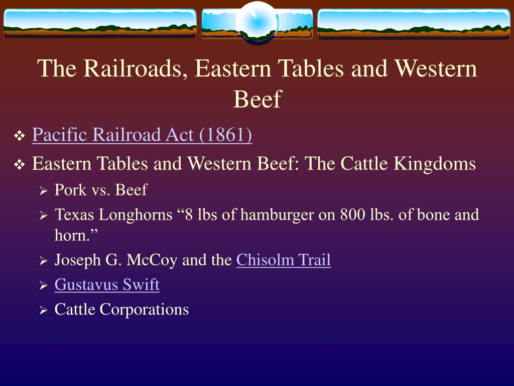 The Railroads, Eastern Tables and Western Beef