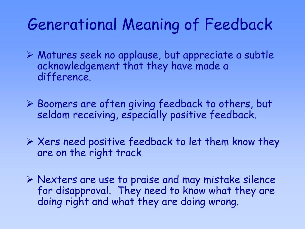 Generational Meaning of Feedback
