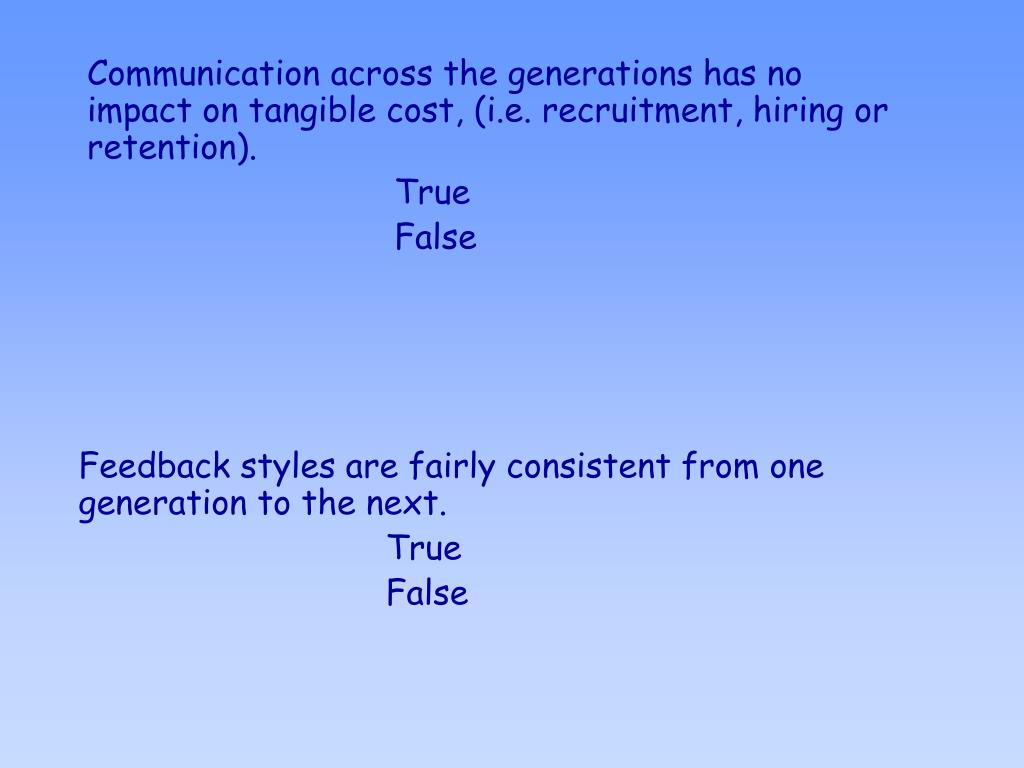 Communication across the generations has no impact on tangible cost, (i.e. recruitment, hiring or retention).