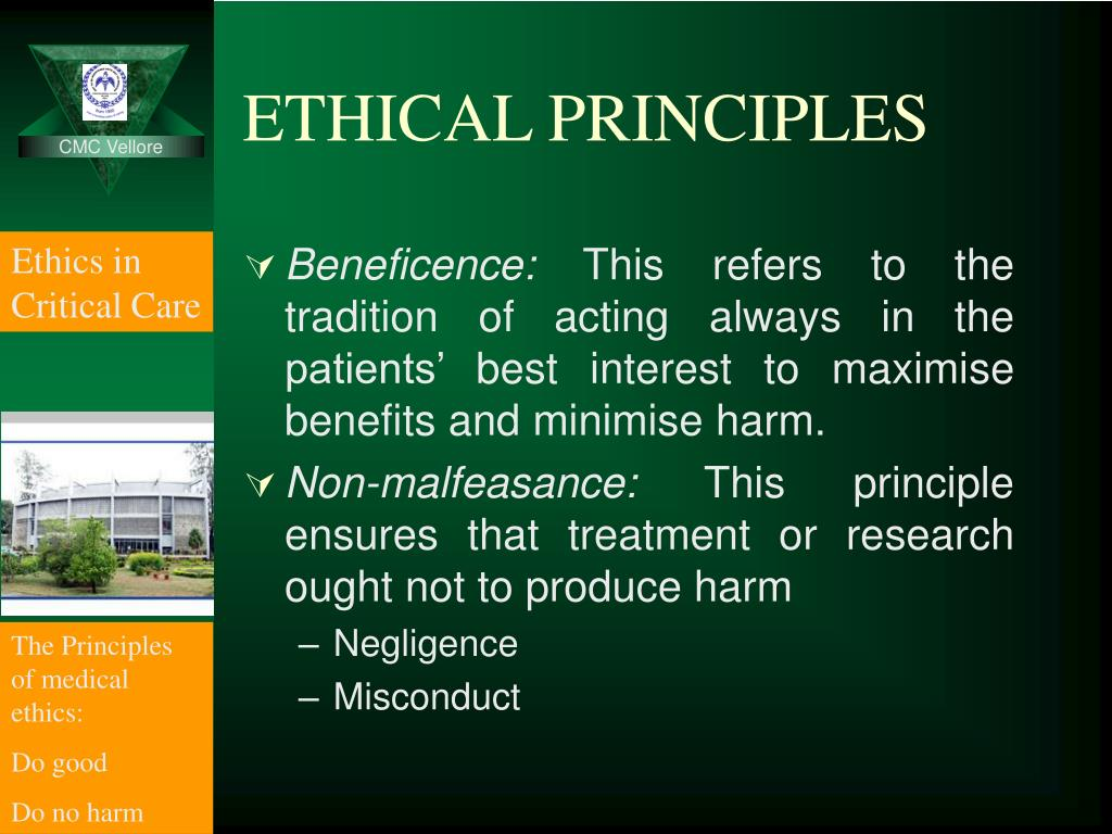 the ethical principle of non malfeasance In addition, basic ethical principles guide nurses' decision-making process every day consider the ethical responsibility of nurses in ensuring patient autonomy, beneficence, non-malfeasance, and justice read the following scenario.