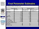 final parameter estimates