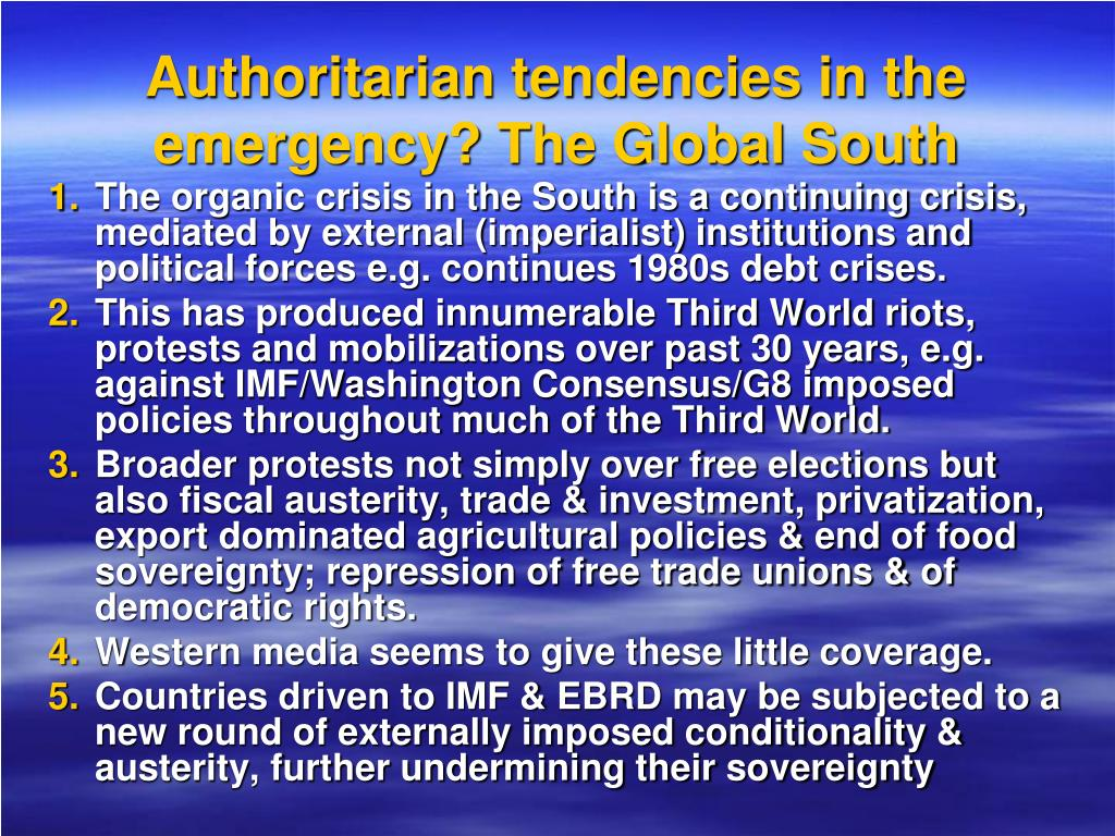 Authoritarian tendencies in the emergency? The Global South