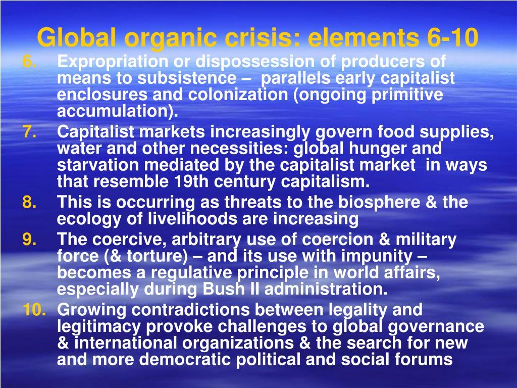 Global organic crisis: elements 6-10