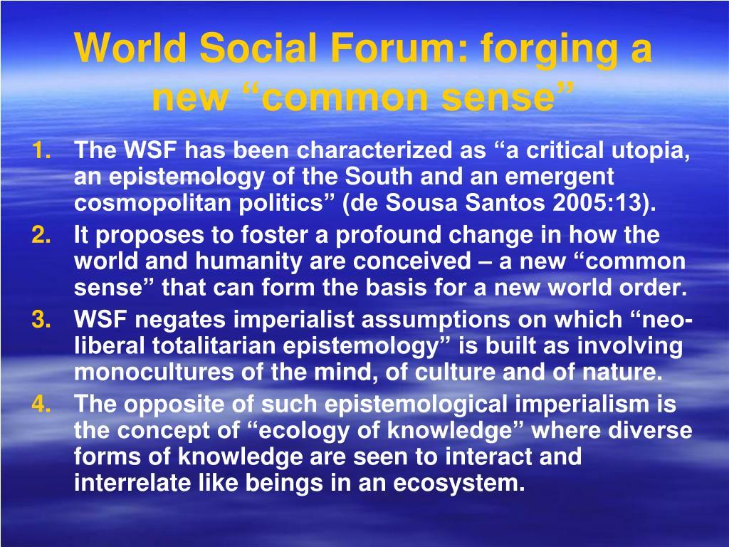 """World Social Forum: forging a new """"common sense"""""""