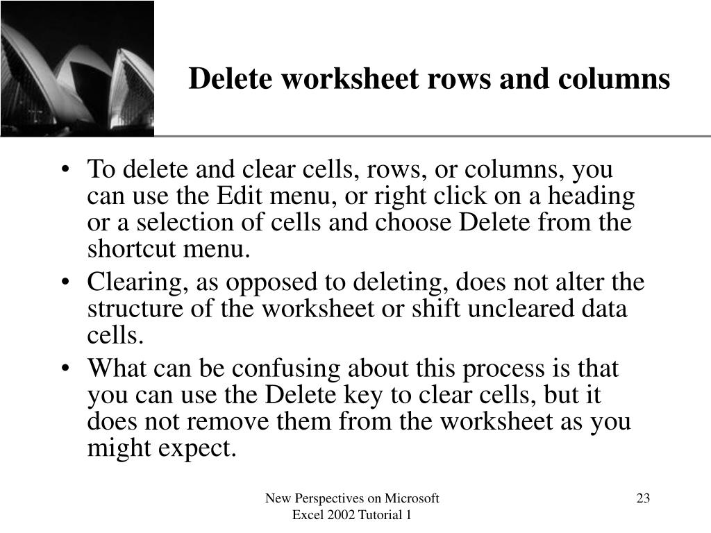 Delete worksheet rows and columns