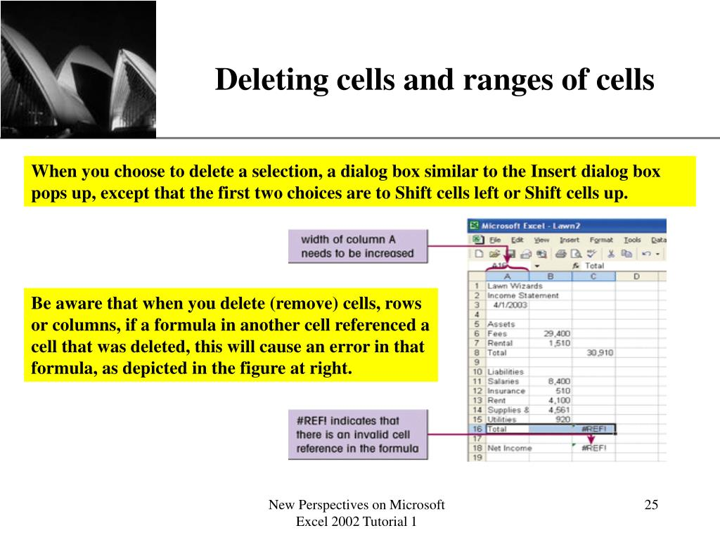 Deleting cells and ranges of cells